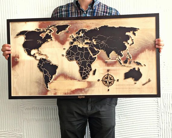 Wooden world map 3D Wood map World map Wooden wall art | Projects ...