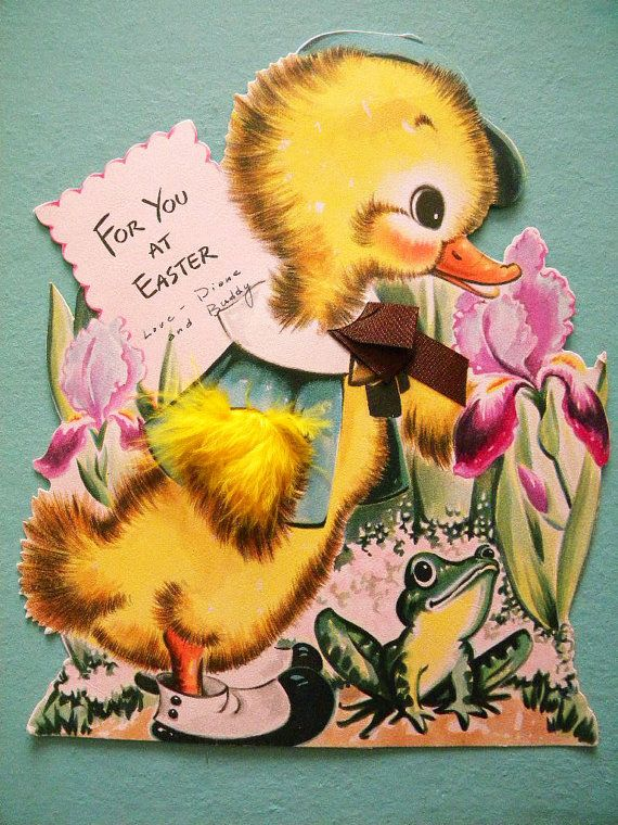 Giant vintage easter card with easel hallmark card frog and duck giant vintage easter card with easel hallmark card frog and duck with real feathers m4hsunfo