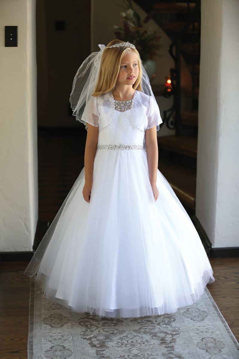 Full Length Communion Dress with Beautiful Hand Sewn Beaded on Top and Bolero