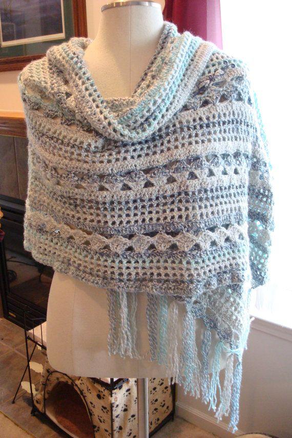 Gorgeous Handmade Rectangular Shawl Wrap Crochet Blue Turquoise