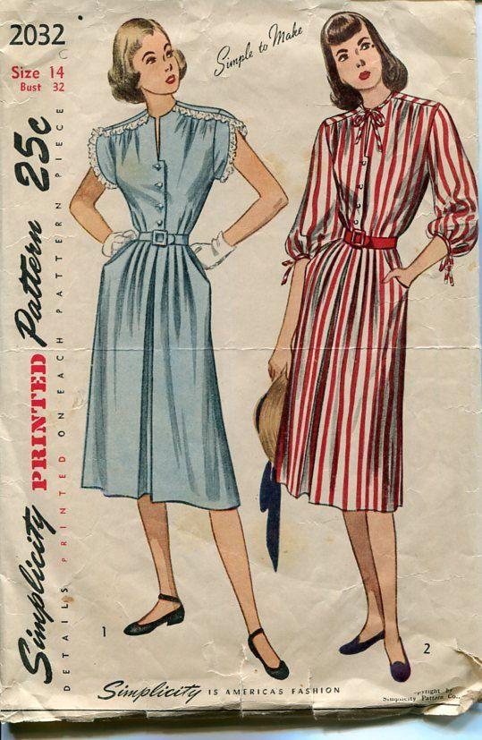 1940s Dress Pattern Simplicity 2032 Size 14 Bust by PengyPatterns