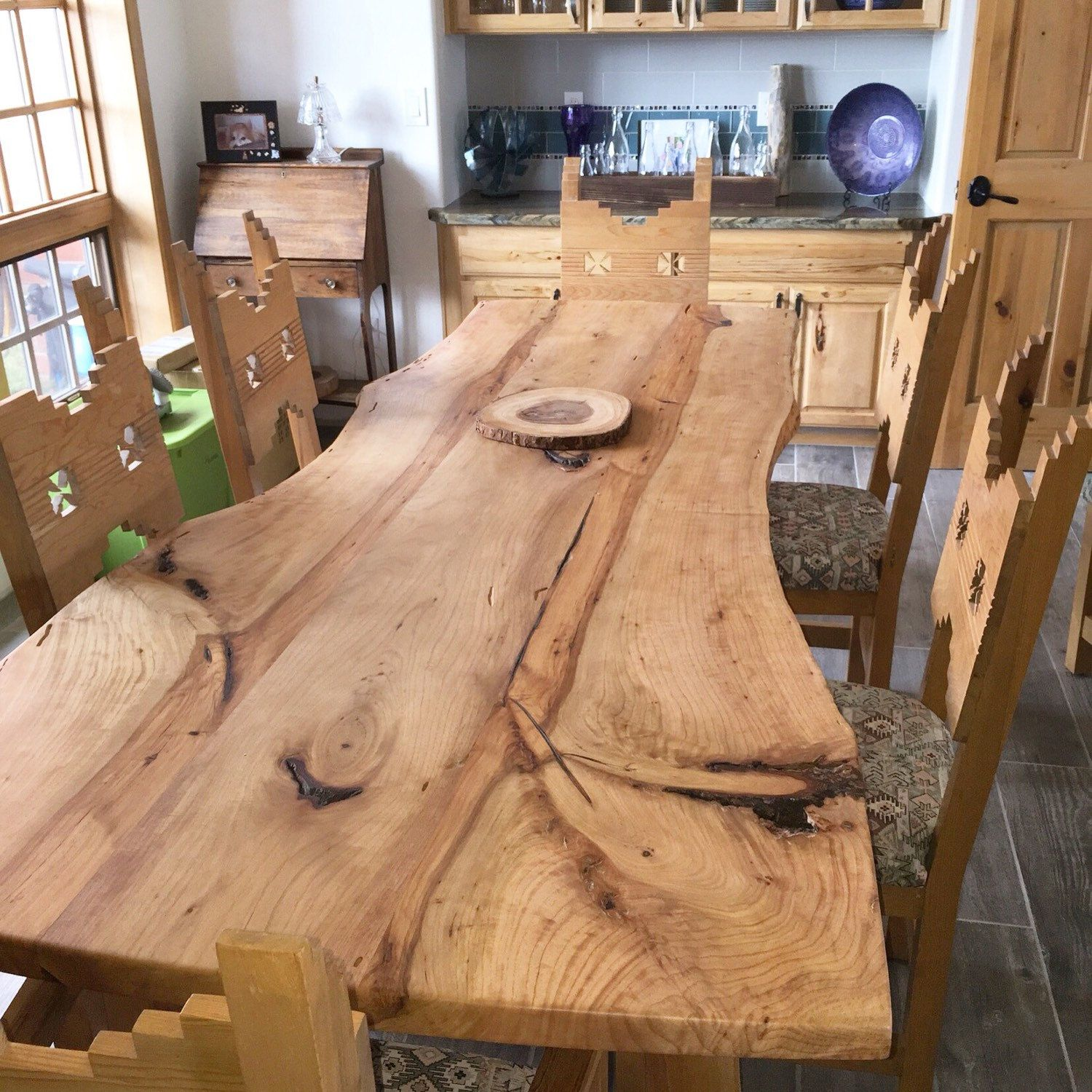 Check Out Our Newest Dining Table Available Now Live Edge Alligator Juniper With Palm Tree Trunk Legs