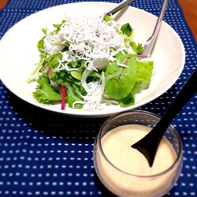 ヤマサ醤油さんからいただきました鮮度の一滴でドレッシングを作りました! - 2件のもぐもぐ - しらすサラダ ヨーグルトドレッシングで by satoe512