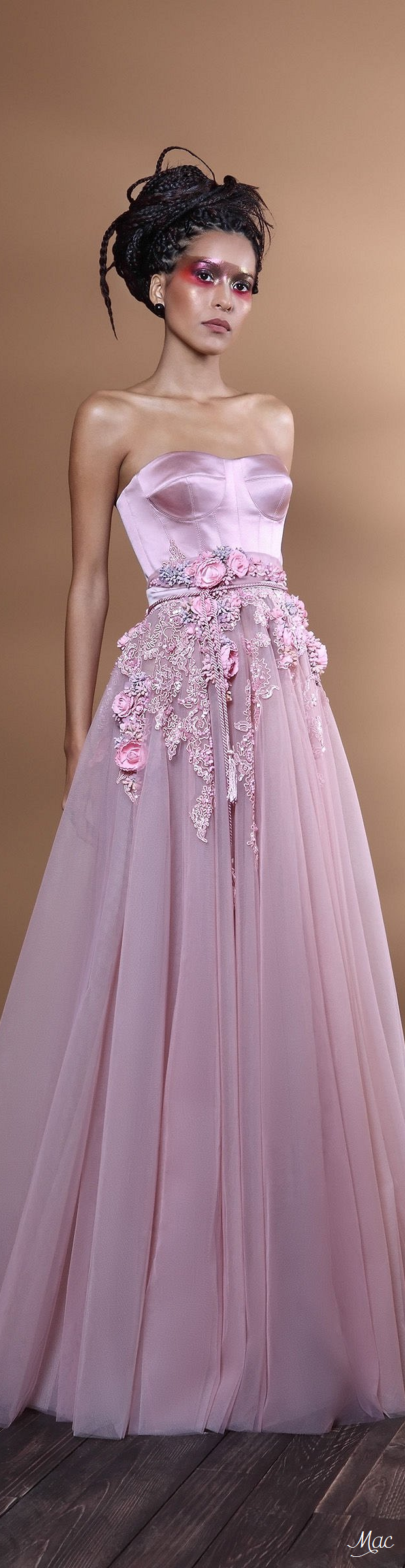 A different kind of wedding dress fantasy... light pink embroidered ...