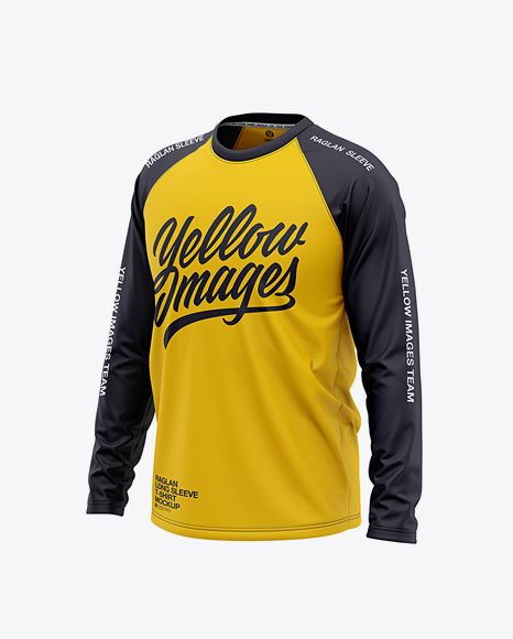 Download Men S Raglan Long Sleeve T Shirt Mockup Front Half Side View In Apparel Mockups On Yellow Images Object Mockups Clothing Mockup Shirt Mockup Mens Raglan