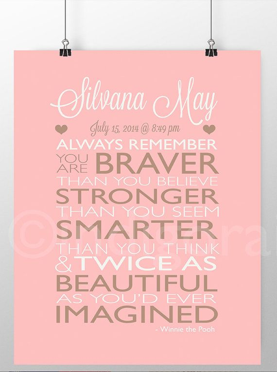 New baby gift personalized nursery poem always remember you are new baby gift personalized nursery poem always remember you are braver than you believe personalized baby gifts winnie the pooh negle Image collections