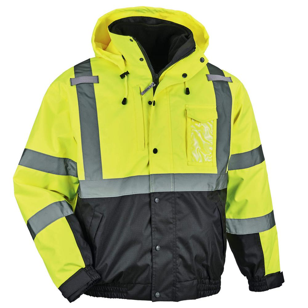 Ergodyne Men S 2x Large Lime High Visibility Reflective Bomber Jacket With Zip Out Black Fleece Green Products Jackets Bomber Jacket Fleece Vest