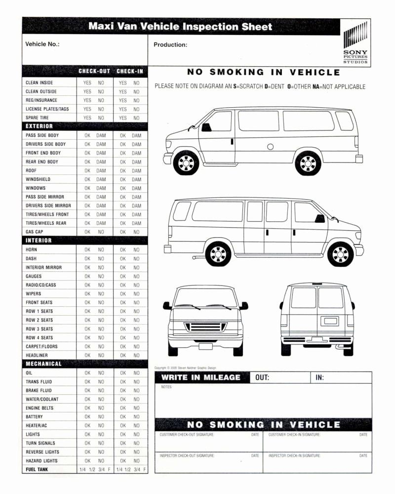 Truck Inspection form Template Lovely Vehicle Inspection