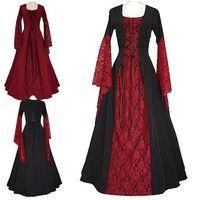 Hot New Medieval Renaissance Lace Up Vintage Style Gothic Dress Floor Length Retro Long Medieval Dre
