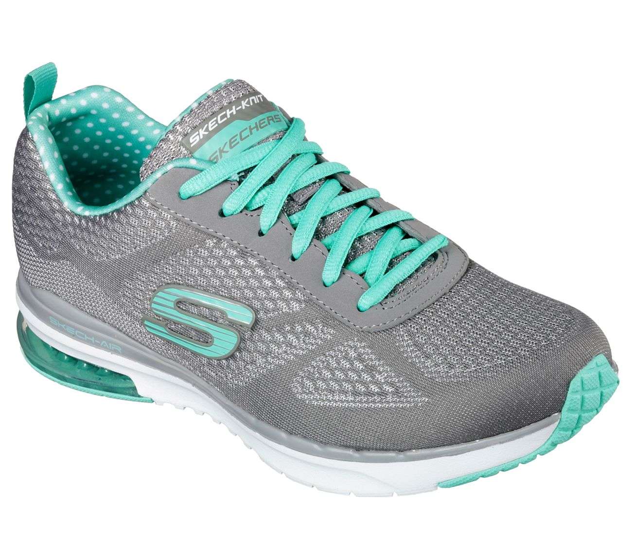 Improve your workout easily with the SKECHERS Skech-Air Infinity shoe.  Skech Knit Mesh one piece fabric upper in a lace up athletic sporty training sneaker with visible air cushion heel and Gel Infused Memory Foam insole.