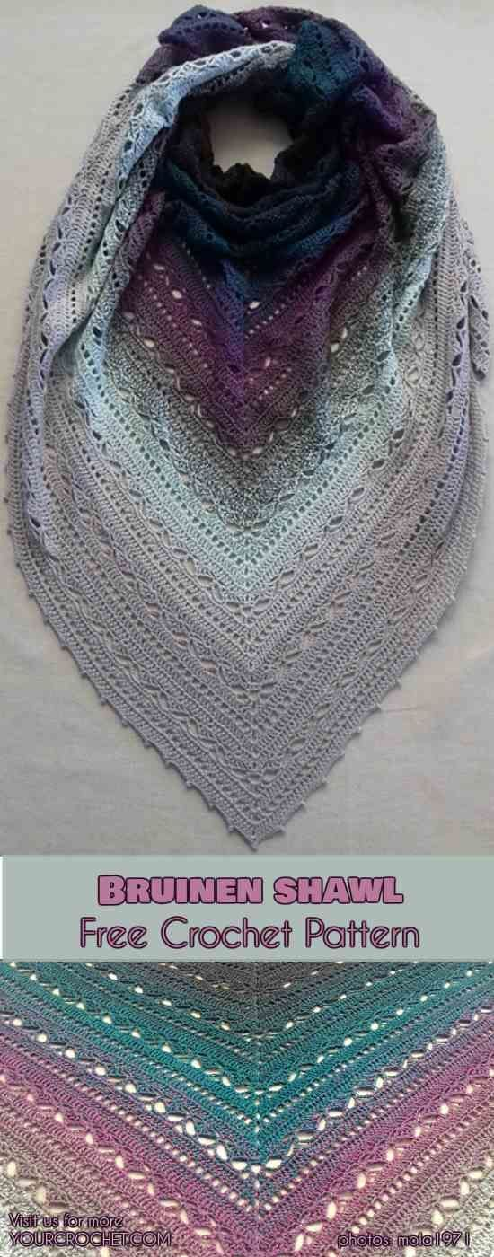 Bruinen Shawl Free Crochet Pattern Häkeln Tuch Pinterest