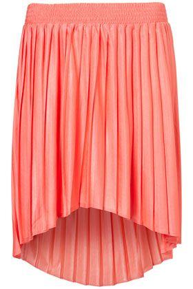 Pleated Dip Hem Skirt