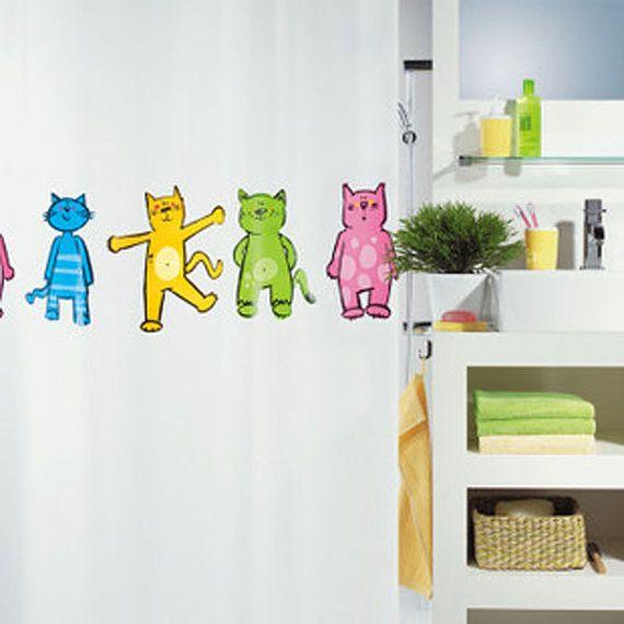 Kids Bathroom GATTO Eco Safe Peva Shower Curtain By Bulleatpig