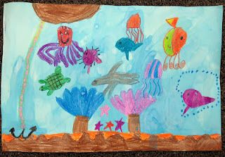 Draw ocean animals and then do a water color wash over them!