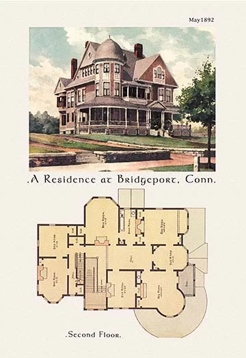 A Residence At Bridgeport Connecticut Graphic Art In 2020 Vintage House Plans Victorian House Plans Modern House Plans