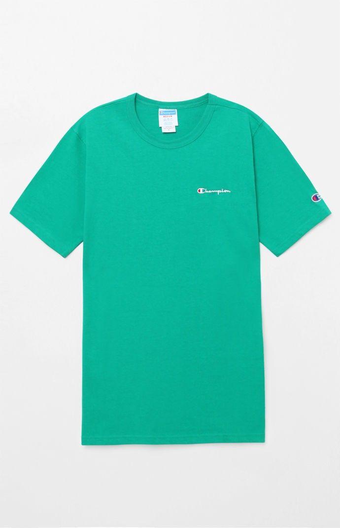 b3d74a36 Champion Small Script Applique T-Shirt - Green Sml   Products   T ...