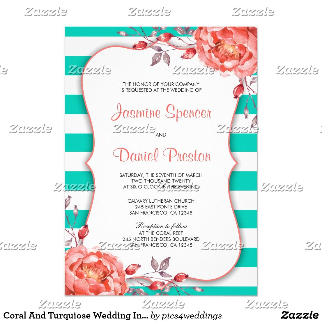 Coral And Turquiose Wedding Invitation Template Turquoise Weddings