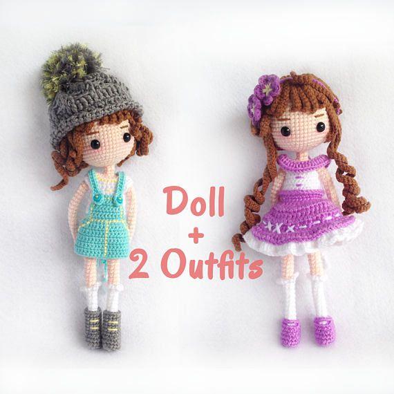 Crochet Doll Pattern / Amigurumi Doll Pattern / Mimi - Doll with 2 ...