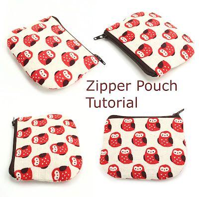 Canvas Cash Coin Purse,Red Dogwood Print Make Up Bag Zipper Small Purse Wallets