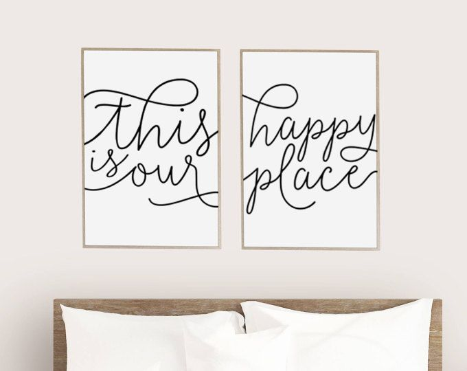 This Is Our Happy Place Set Of 2 Print Posters Typewriter Look