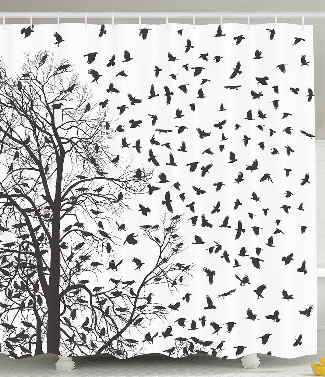Birch tree shower curtains - Beautiful Black Tree With Birds Shower Curtain For The Bathroom