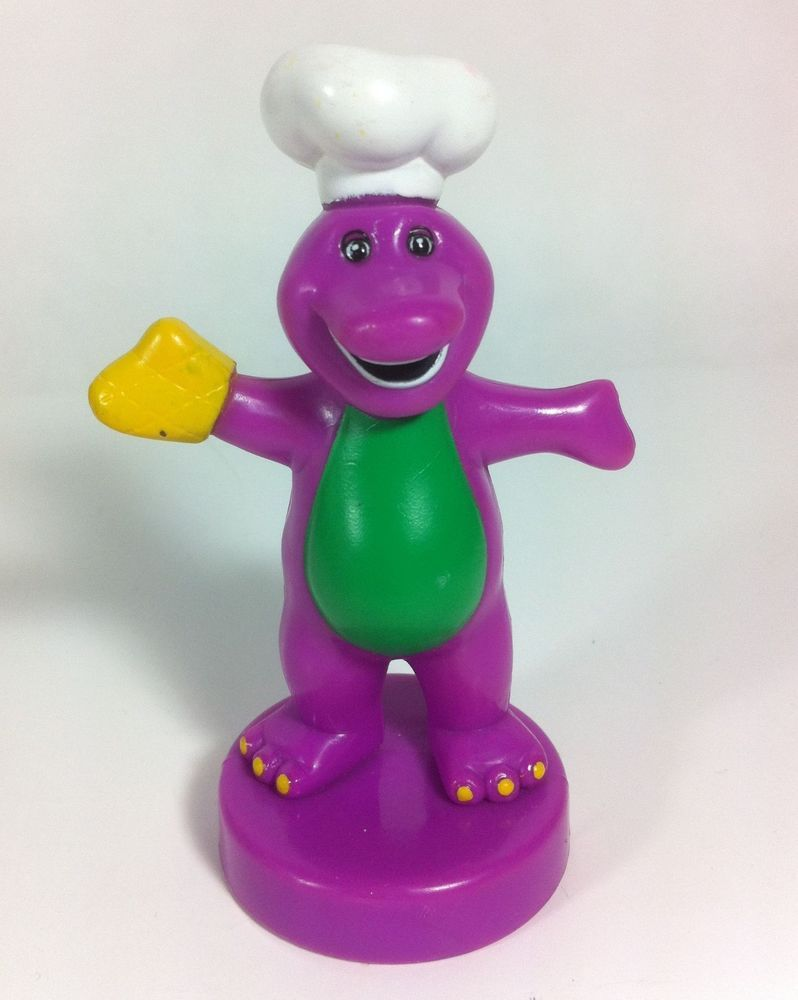 1997 rare chef barney the dinosaur pvc toy figure with play doh
