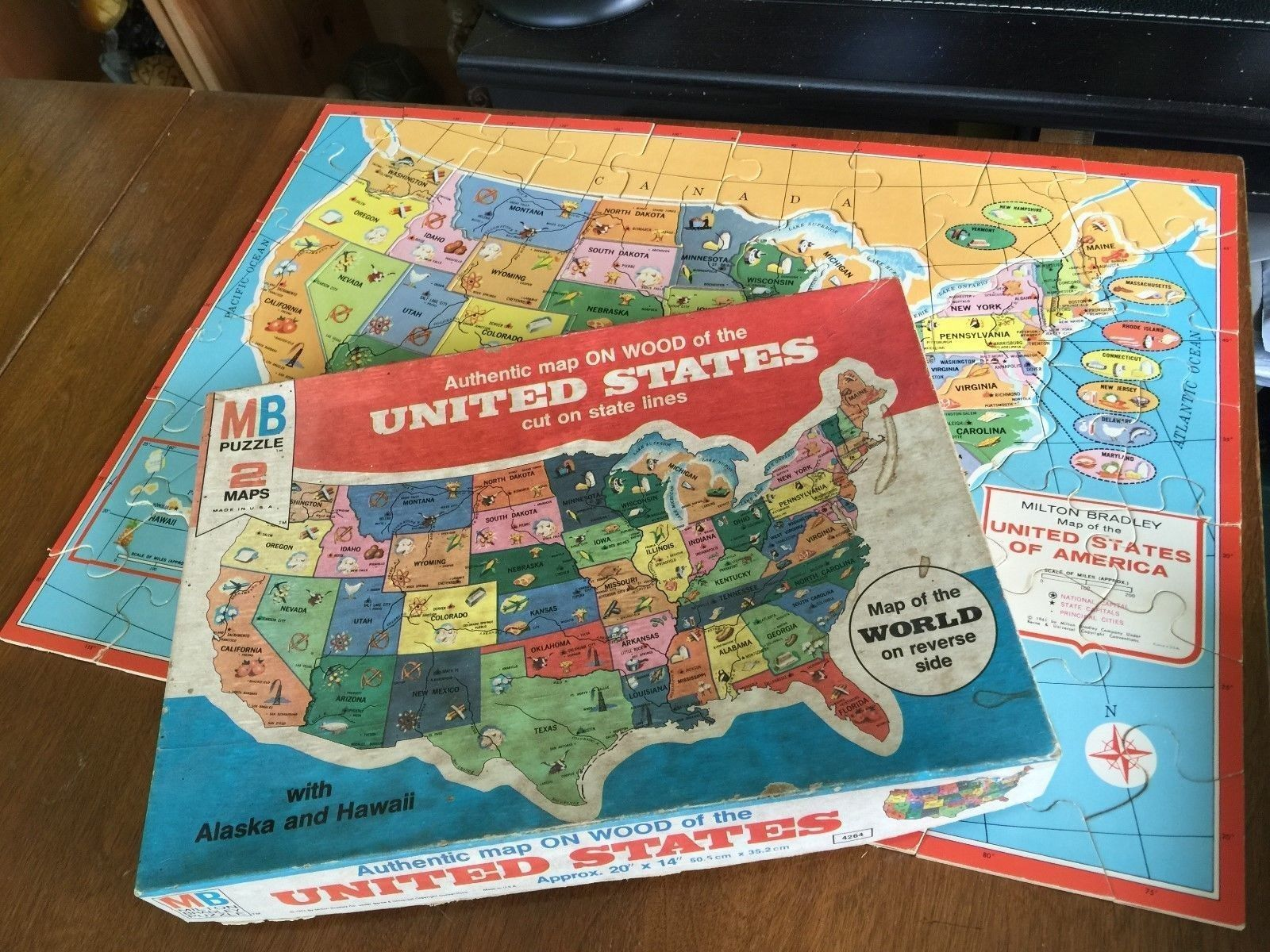 Milton Bradley USA/world 2-sided wooden map puzzle | If I ...