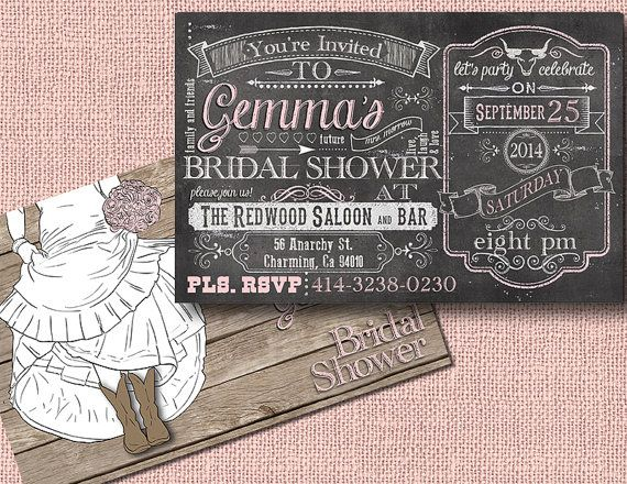 Cowboy Boot Wedding Invitations: Bridal Shower Invitations For Country Chic Weddings