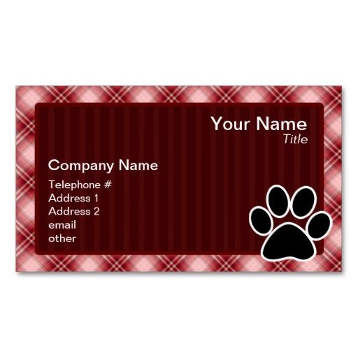 Red plaid paw print business card business cards and business red plaid paw print business card colourmoves