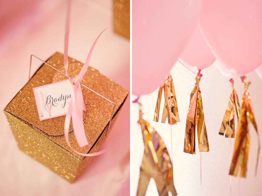 A Glittering Pink and Gold Hot Air Balloon Themed Birthday Party ...