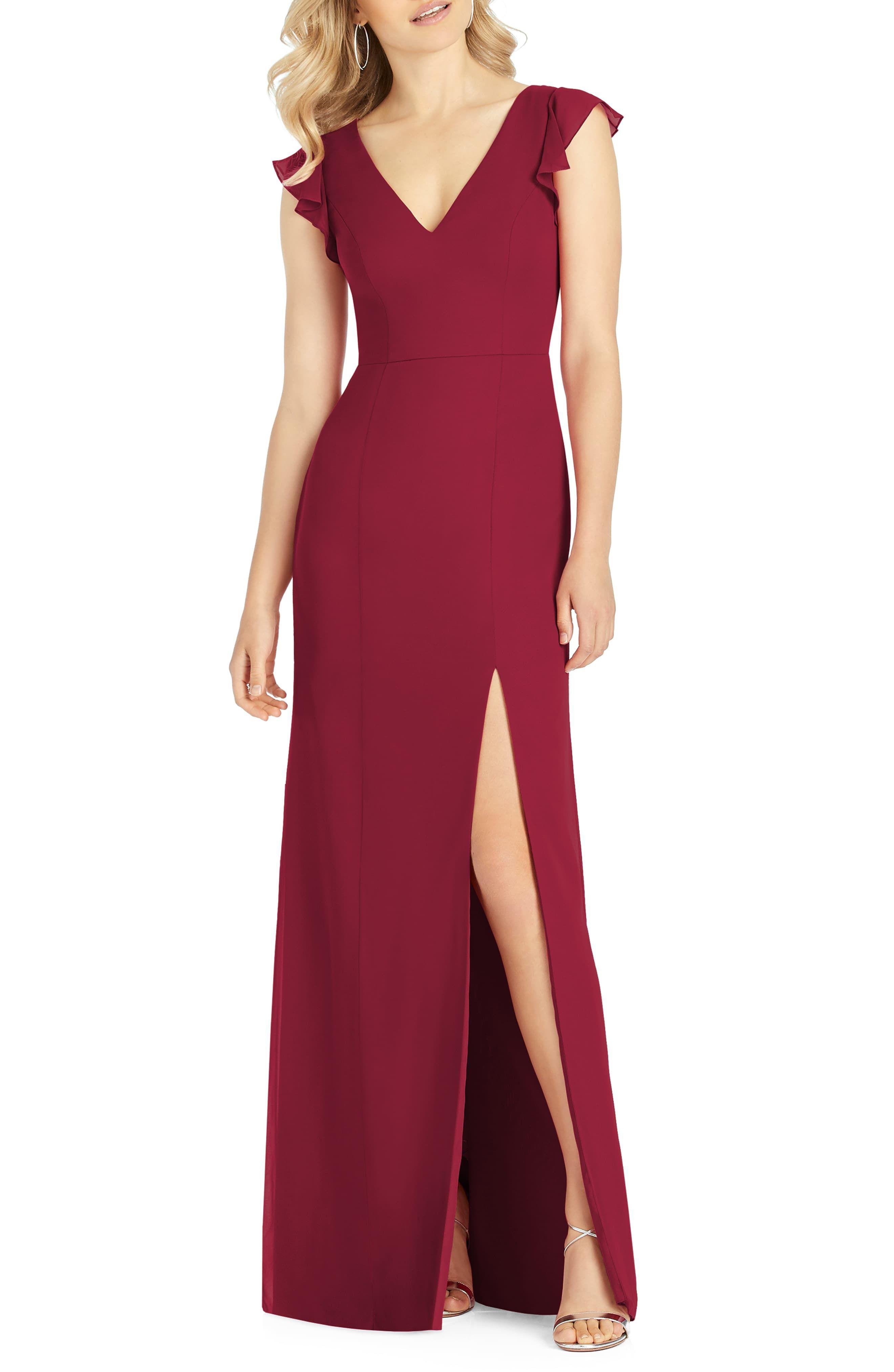 Women's After Six VNeck Ruffle Sleeve Evening Dress, Size