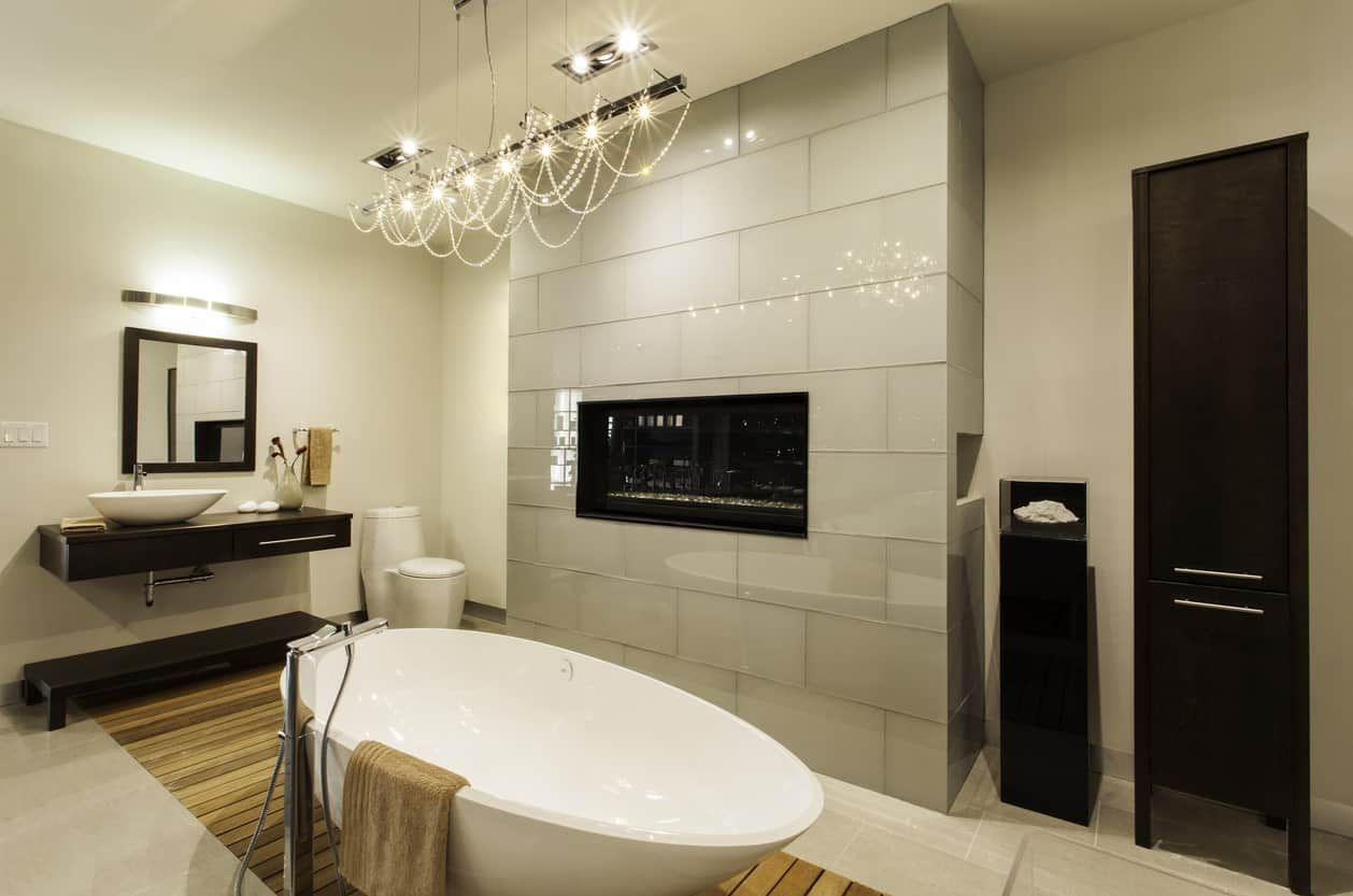 60 Master Bathrooms With A Fireplace Photos In 2020 Bathroom Interior Design Bathroom Interior Bathrooms Remodel