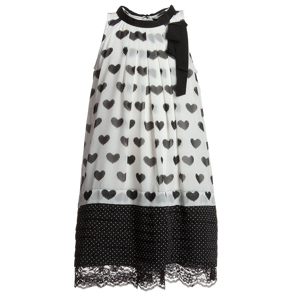 fe1b9ff70b7e Jakioo Black Heart Print Chiffon Dress - Dresses - Girl ...