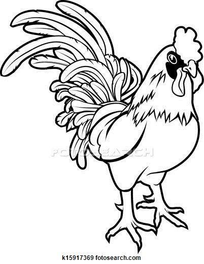 Stylised Rooster Illustration Clip Art