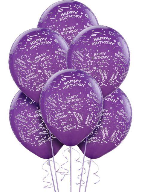 Latex Purple Confetti Birthday Printed Balloons 12in 6ct