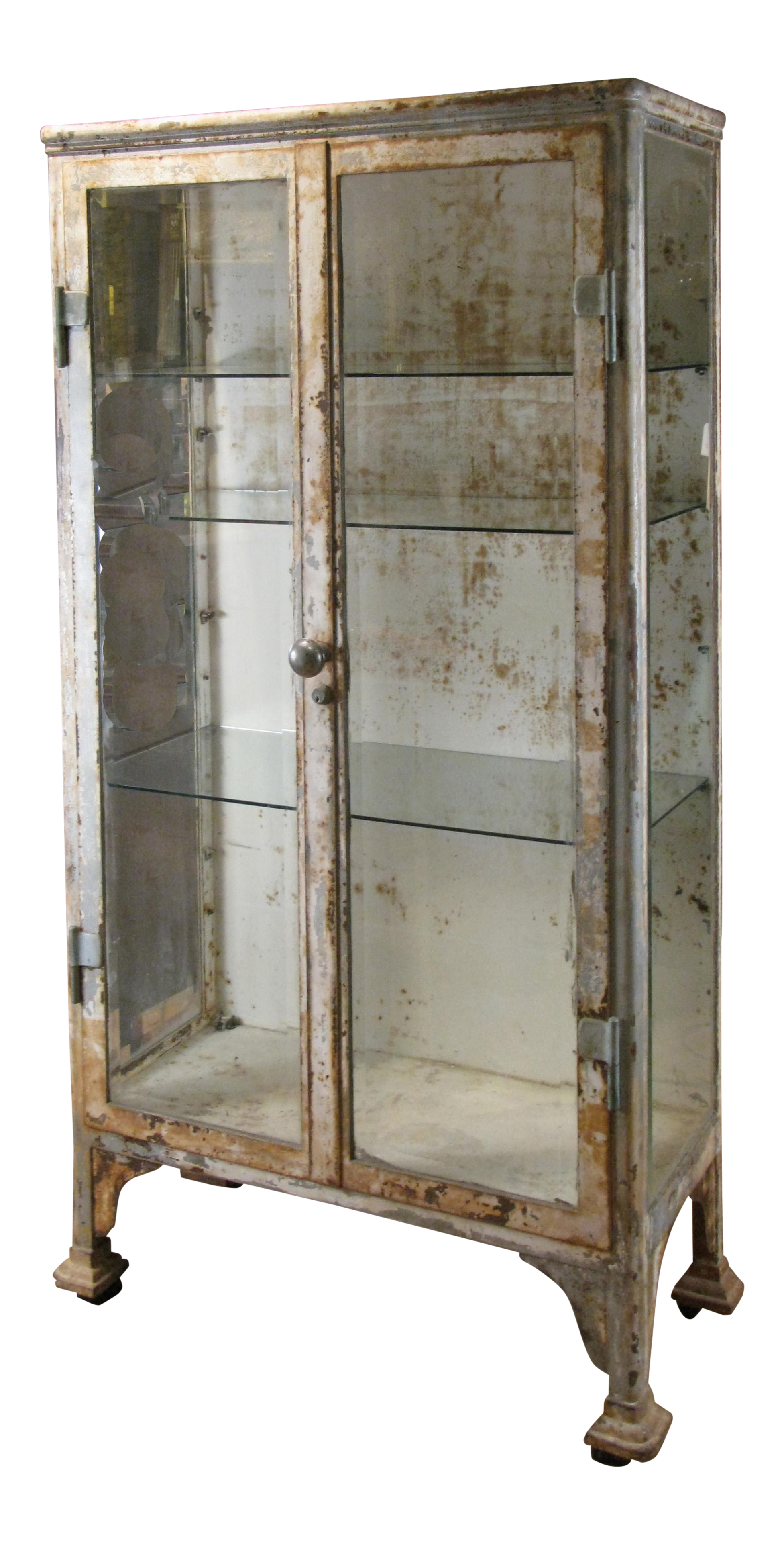 Antique Cast Iron Glass Apothecary Cabinet On Decaso Com Glass Cabinet Doors Glass Cabinets Display Apothecary Cabinet