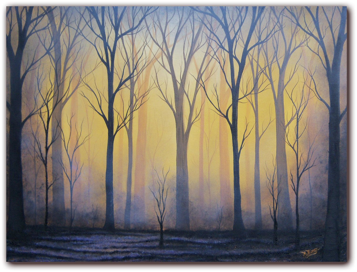 Original Forest Oil Painting, Contemporary Dark Art on Canvas, Misty ...