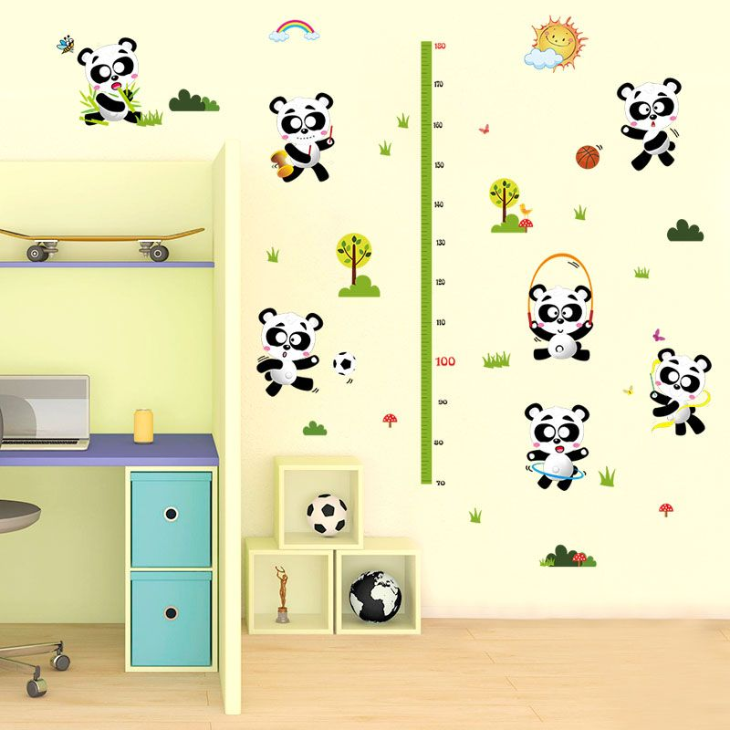 Fundecor] cartoon panda height measurement wall stickers for kids ...