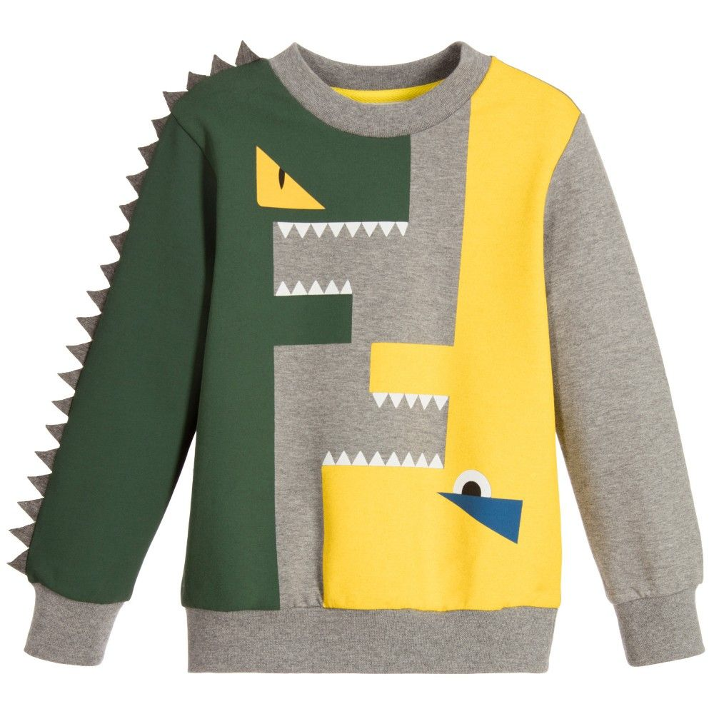 3f45ae6842ae Fendi - Boys Grey  FF  Spiked Monster Sweatshirt