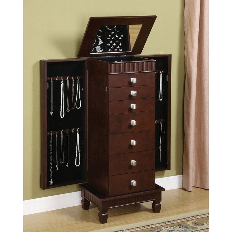 Jewelry box armiore wooden merlot armoire