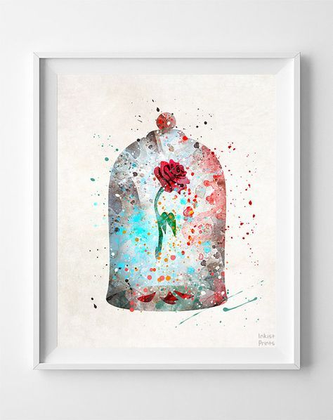 Maudit imprimé rose, beauté et la bête, enchanté rose, art de l'aquarelle, Disney affiche, décoration murale bébé, la rose enchantée, fête des pères