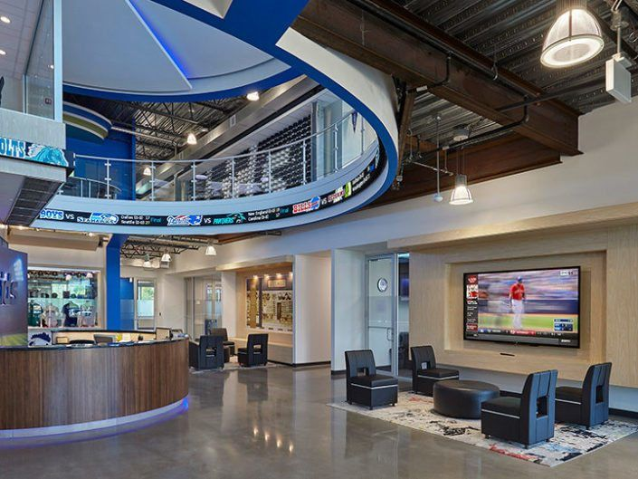 corporate office lobby. Delighful Lobby LIDS Corporate Headquarters Lobby Ticker  Display Rise And Office U
