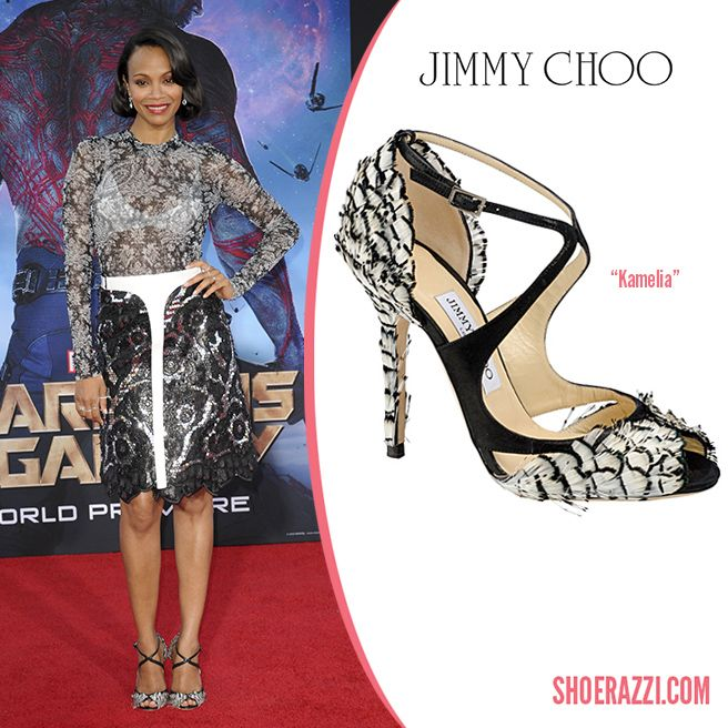 Zoe Saldana in Jimmy Choo Kamelia Feather & Leather Sandals