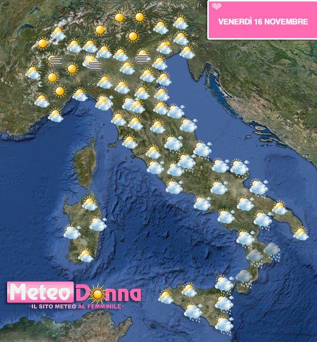 Meteo 141516 novembre Piogge in arrivo al sud, Sole al