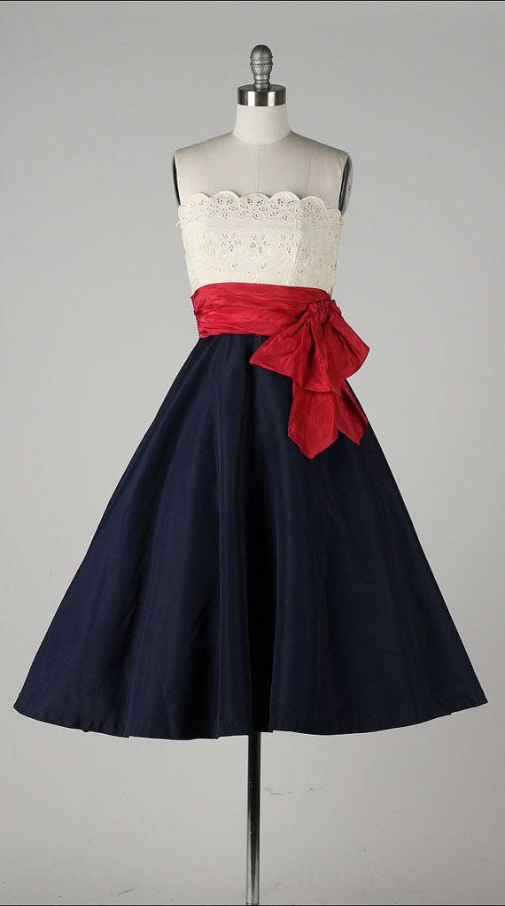 42197fd8046 Vintage 1950s dress . red white   blue . eyelet cotton . red silk ...