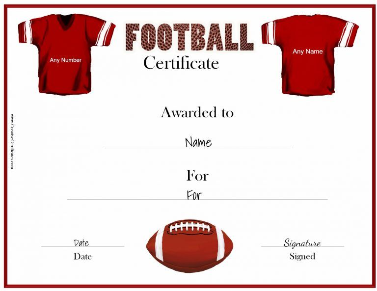 Red Jersey Football Certificates Pinterest Certificate