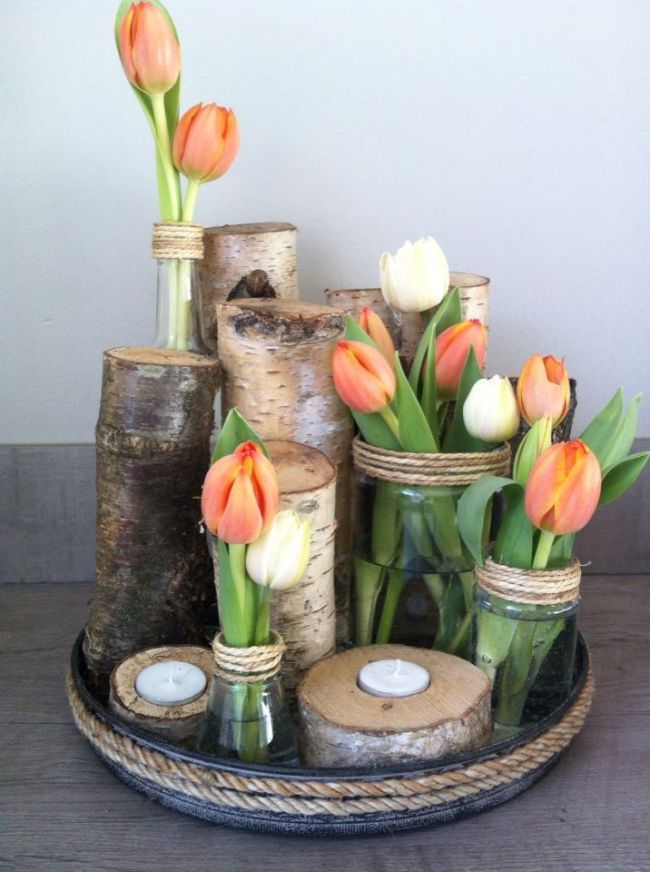 Photo of Tulips and birch branches