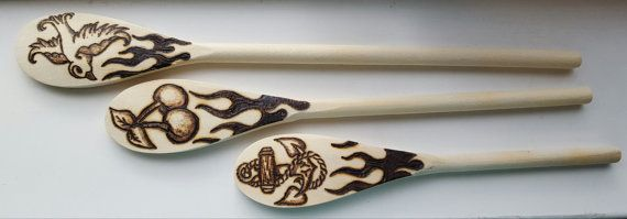 Tattoo themed pyrography wooden spoons  set of 3  by Mehdals