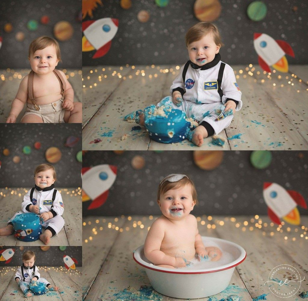 Space Themed Smash Cake 12month 1 Year Old 1st Boy Birthday First Birthday Pictures Space Birthday Party