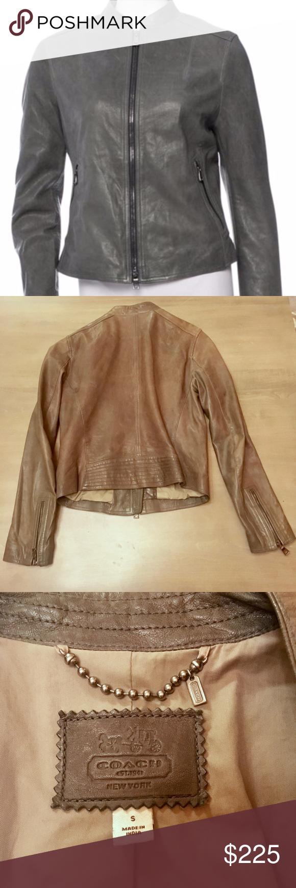 Coach Slate F82389 Kra Racer Leather Jacket Very nice